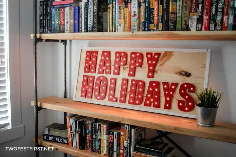 Paint the Holidays Red Lighted Wooden Sign