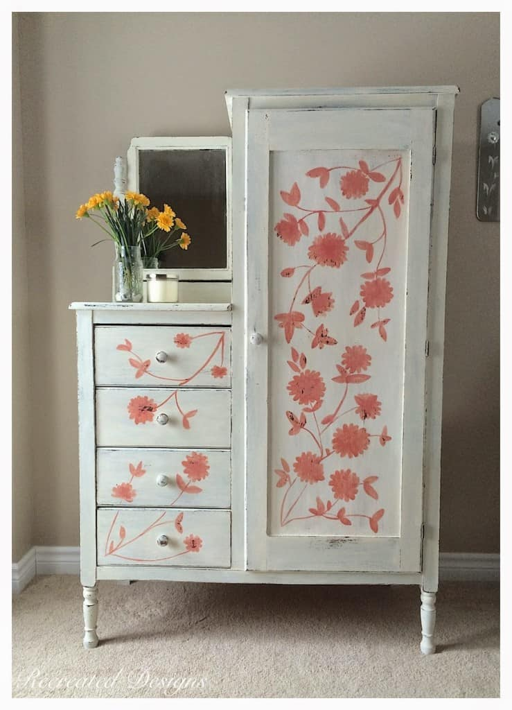 Beautiful Whimsical Vintage Painted Armoire