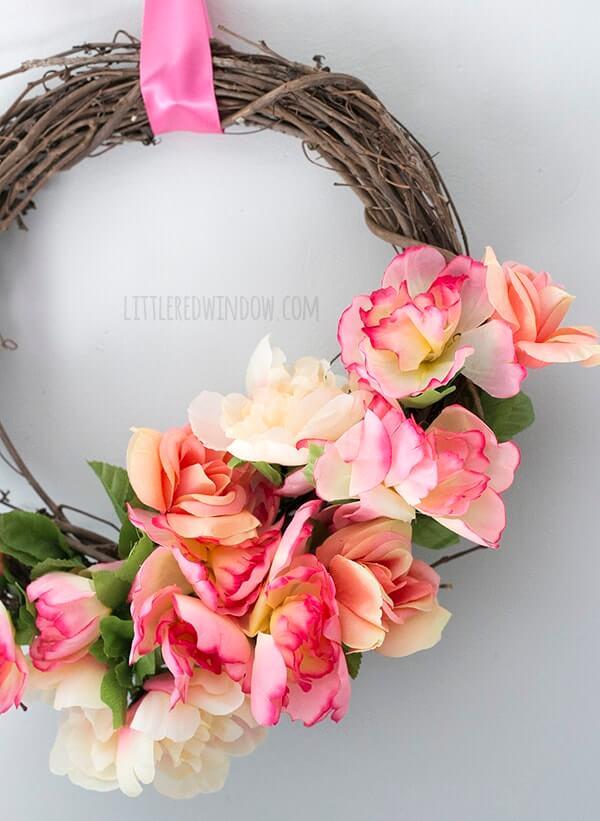 Blushing Pink Grapevine and Ribbon Wreath