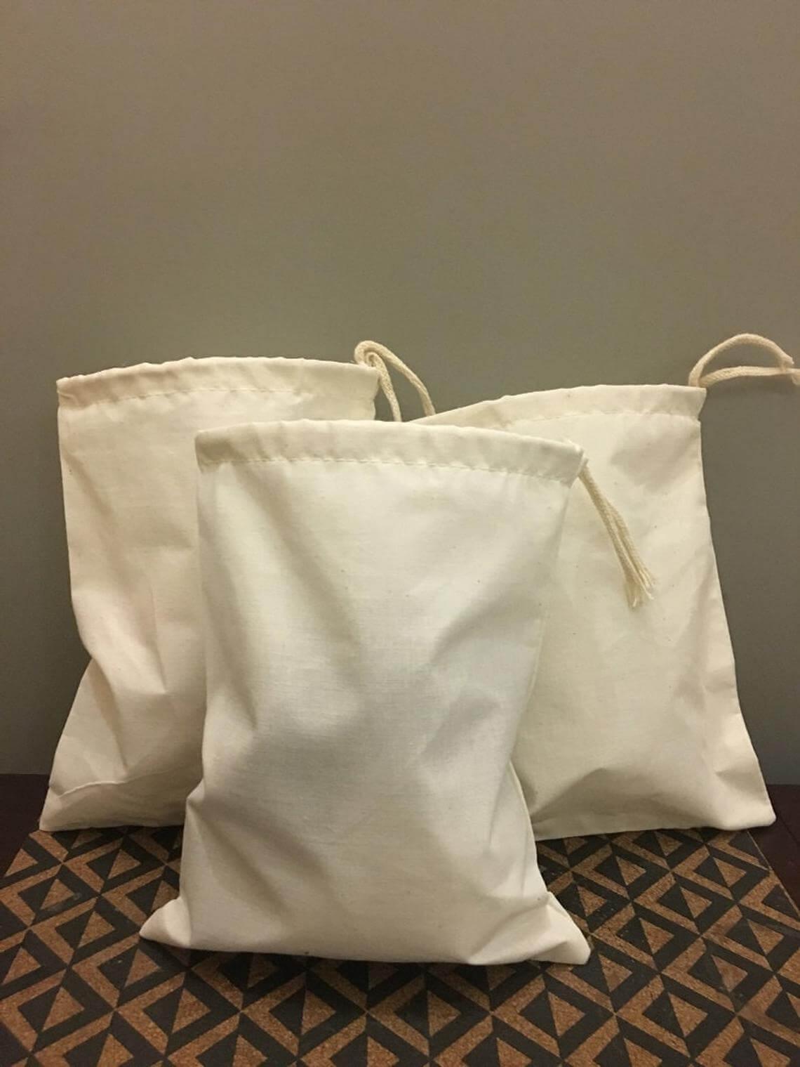 Reusable Cotton Drawstring Travel Bag