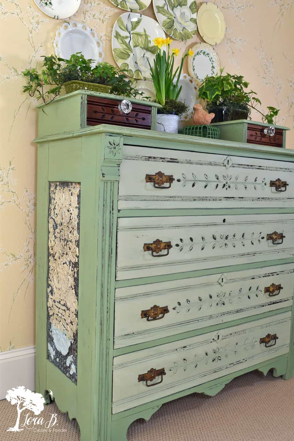 Creative Green Painted Aged Dresser