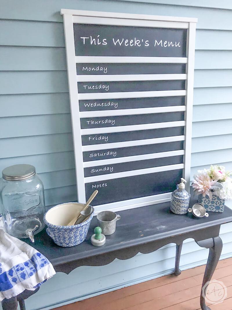 This Week's Menu Chalkboard Kitchen Organizer Board