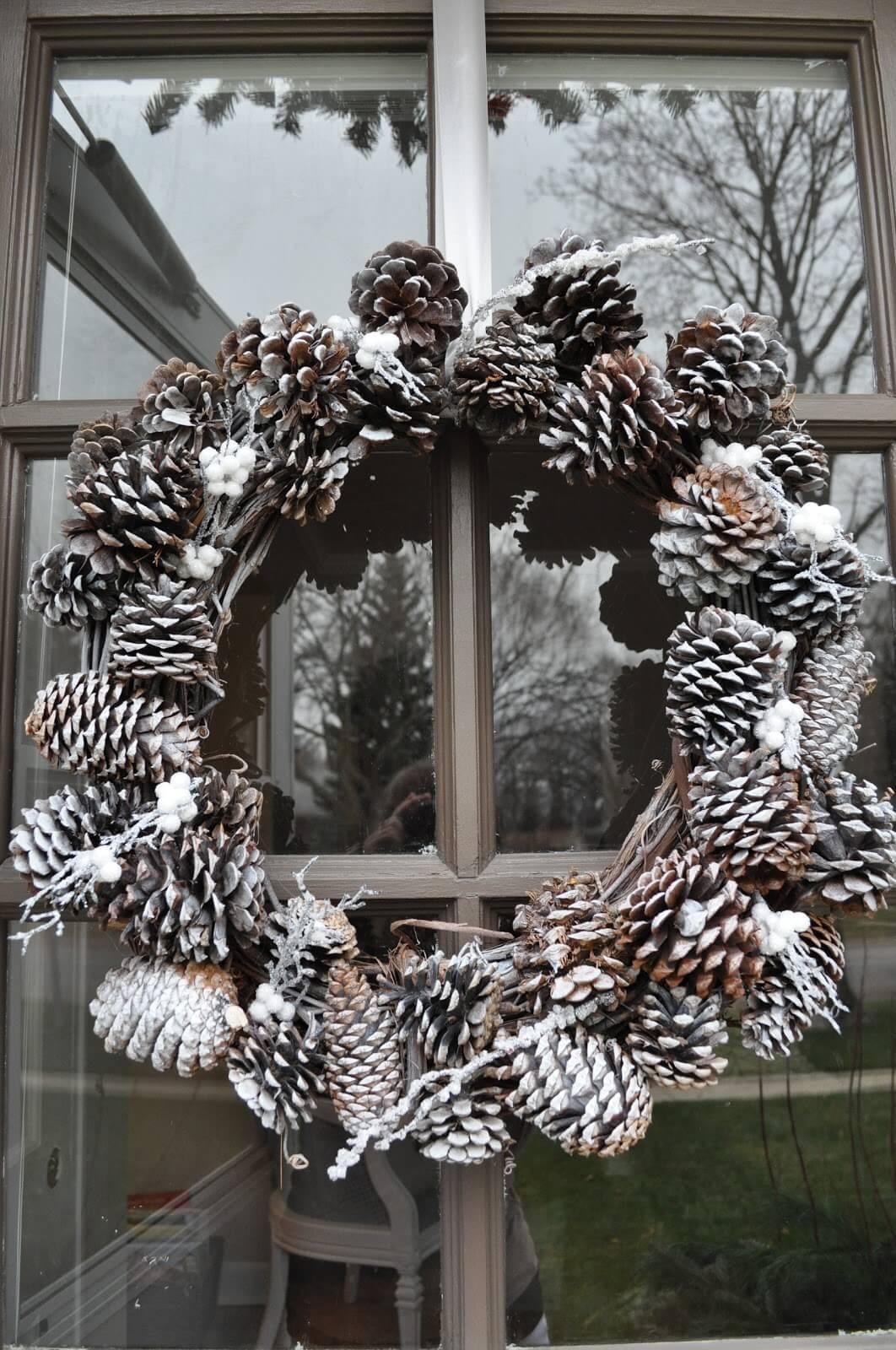 Gray & Glitter Winter Pinecone Wreath