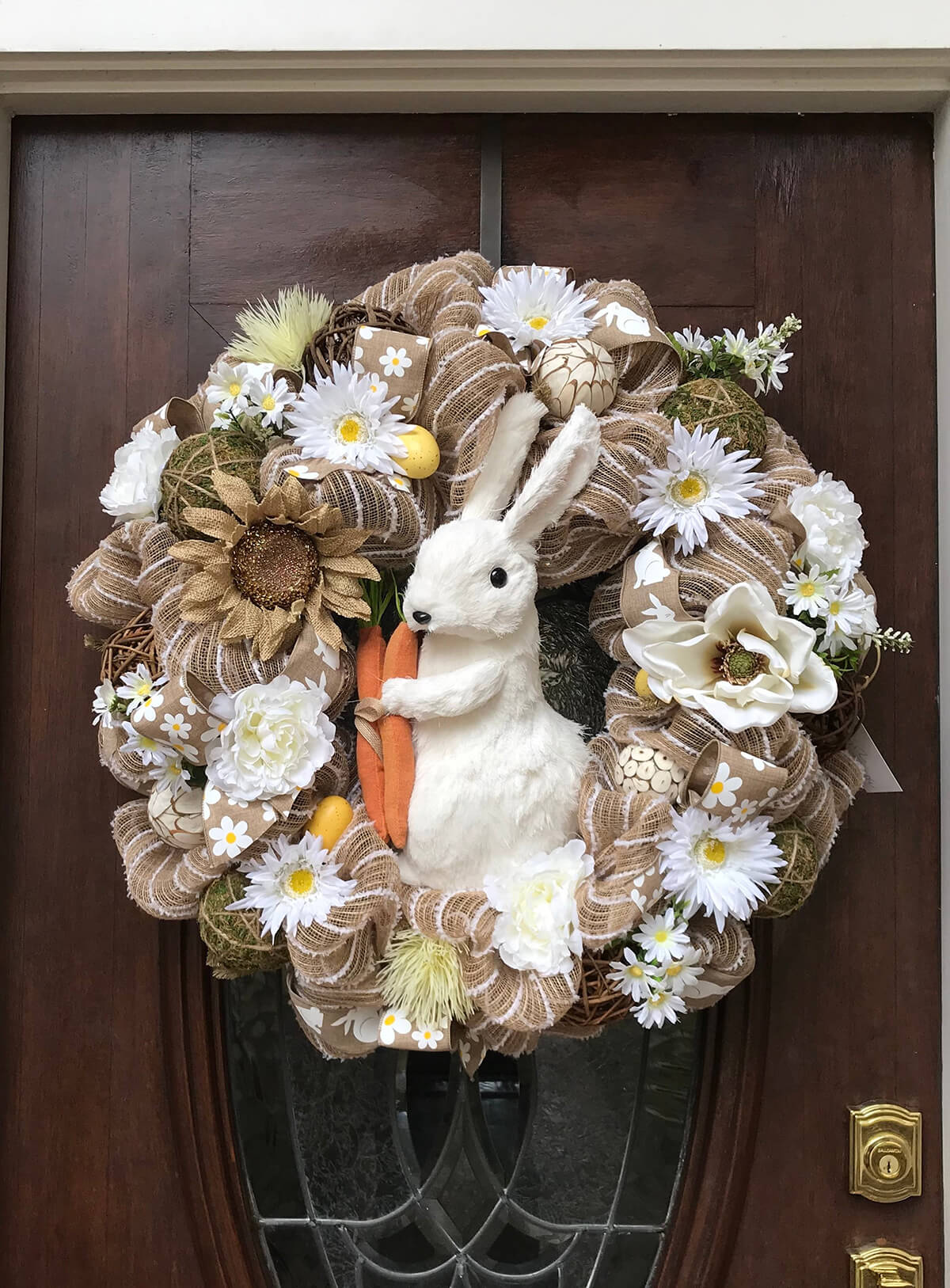 Assorted Flower Bouquet and Ribbons Bunny Wreath