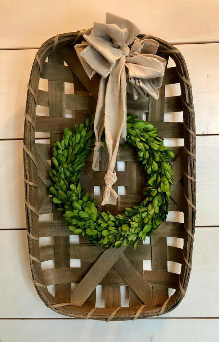 Boxwood Wreath Hung in a Basket