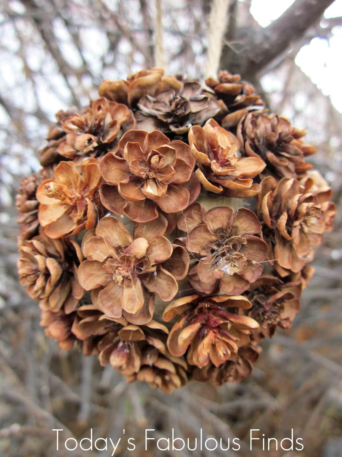 DIY Rustic pinecone Kissing Ball