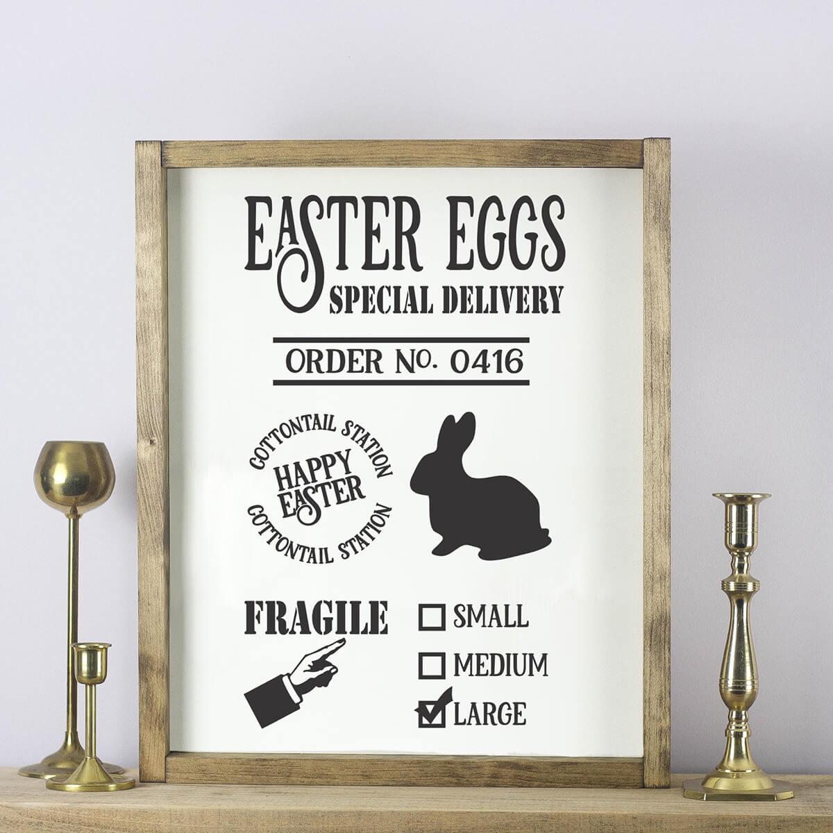 Easter Egg Special Delivery Framed Sign