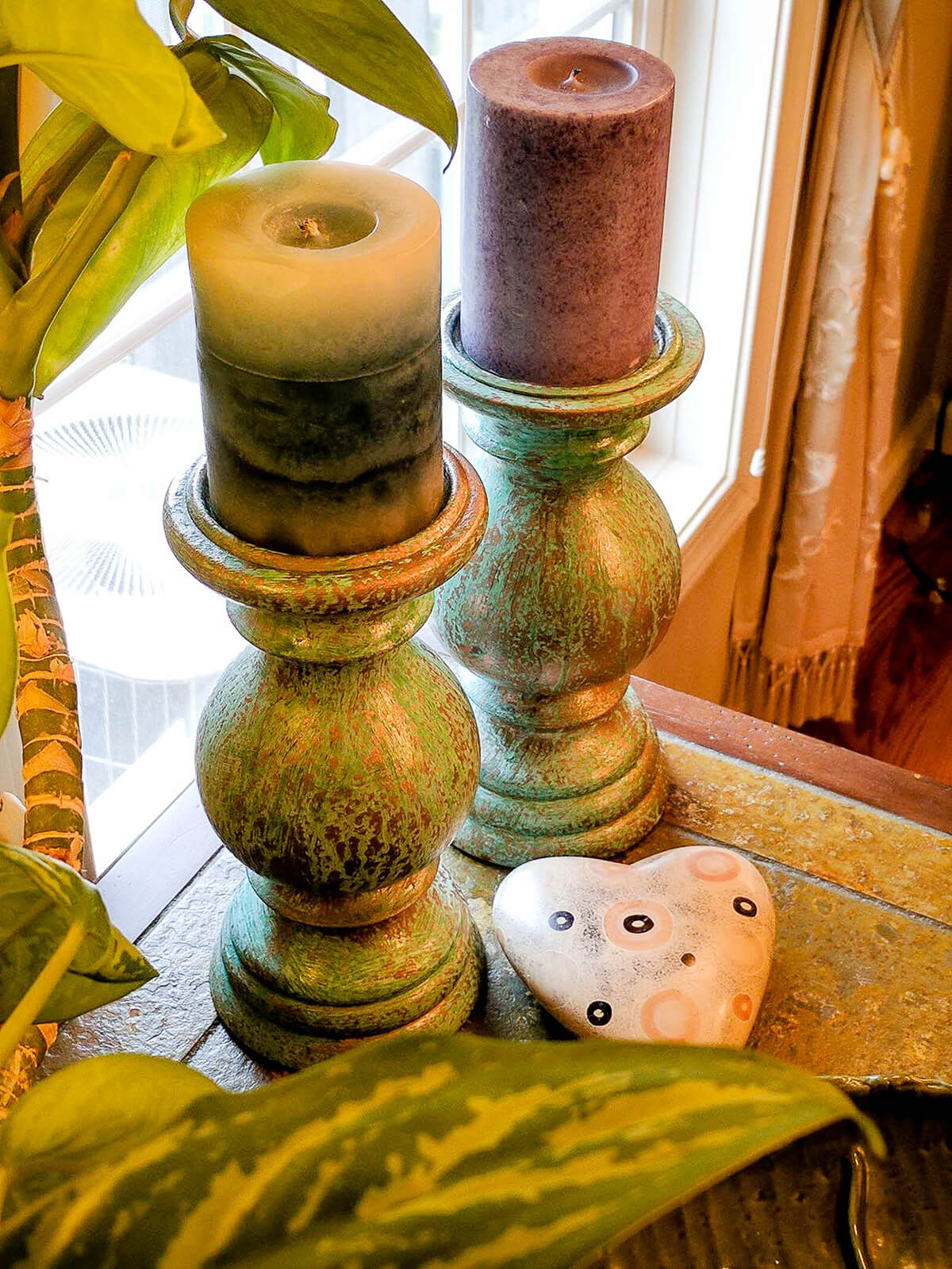 Old World Rustic Chunky Candle Holders