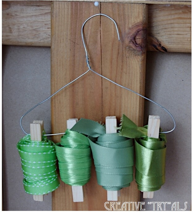 Coathanger and Clothespins Becomes Ribbon Holder