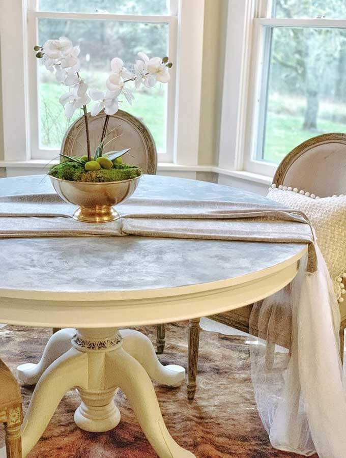 Chalk Painted Faux Marble Tabletop