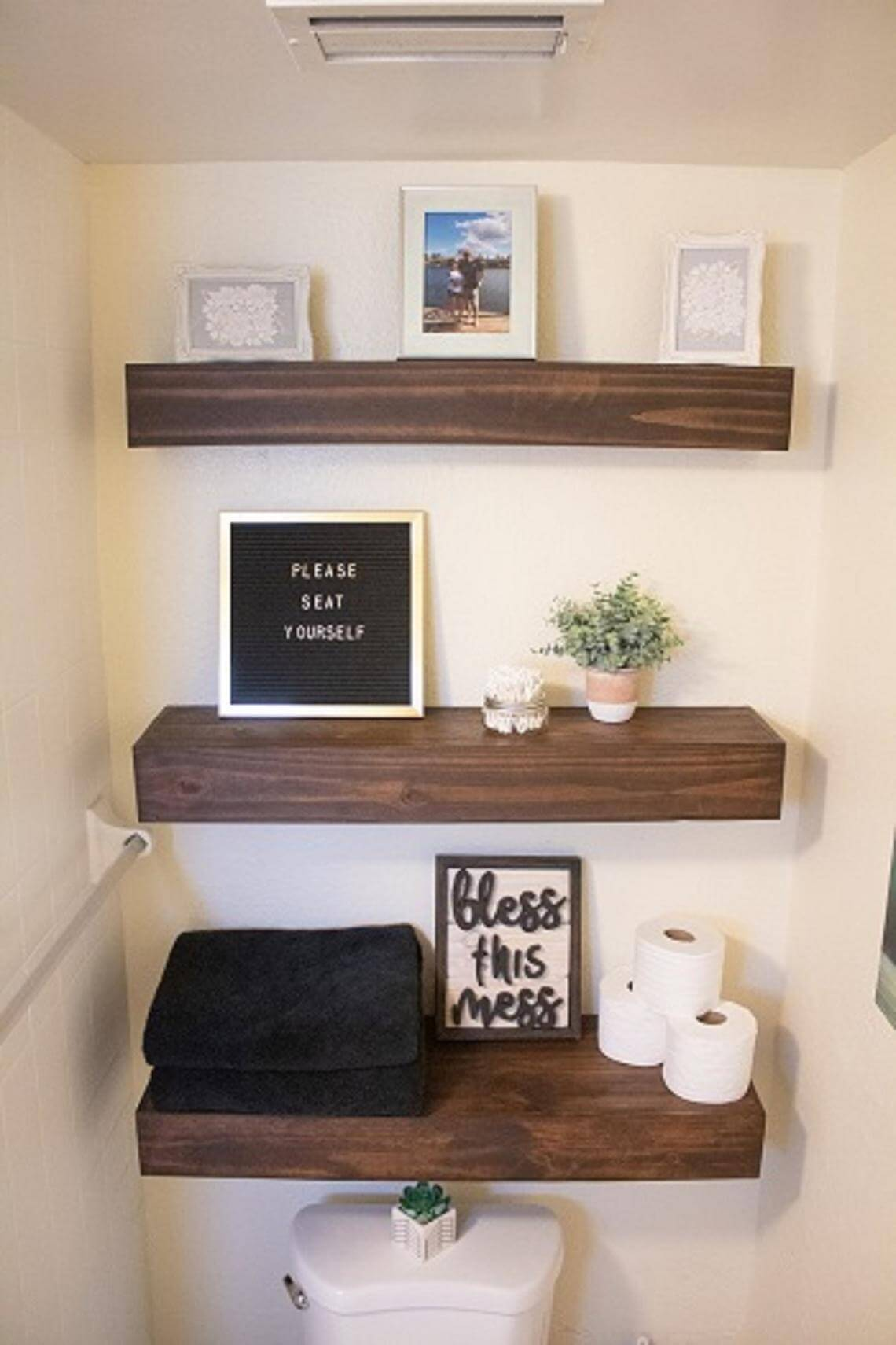 Floating Shelving for Over the Toilet Storage