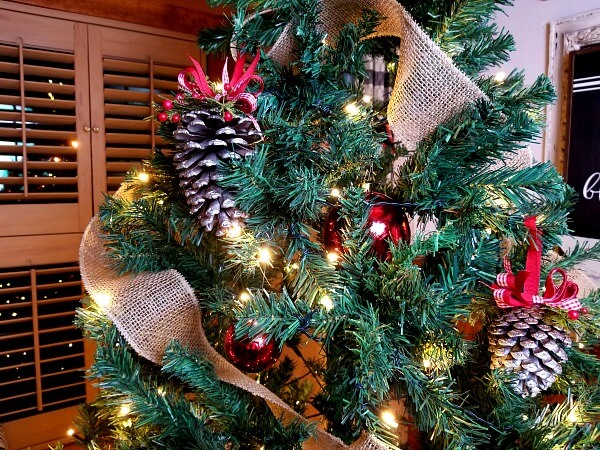 Classic pinecone Ornaments with Red Ribbons