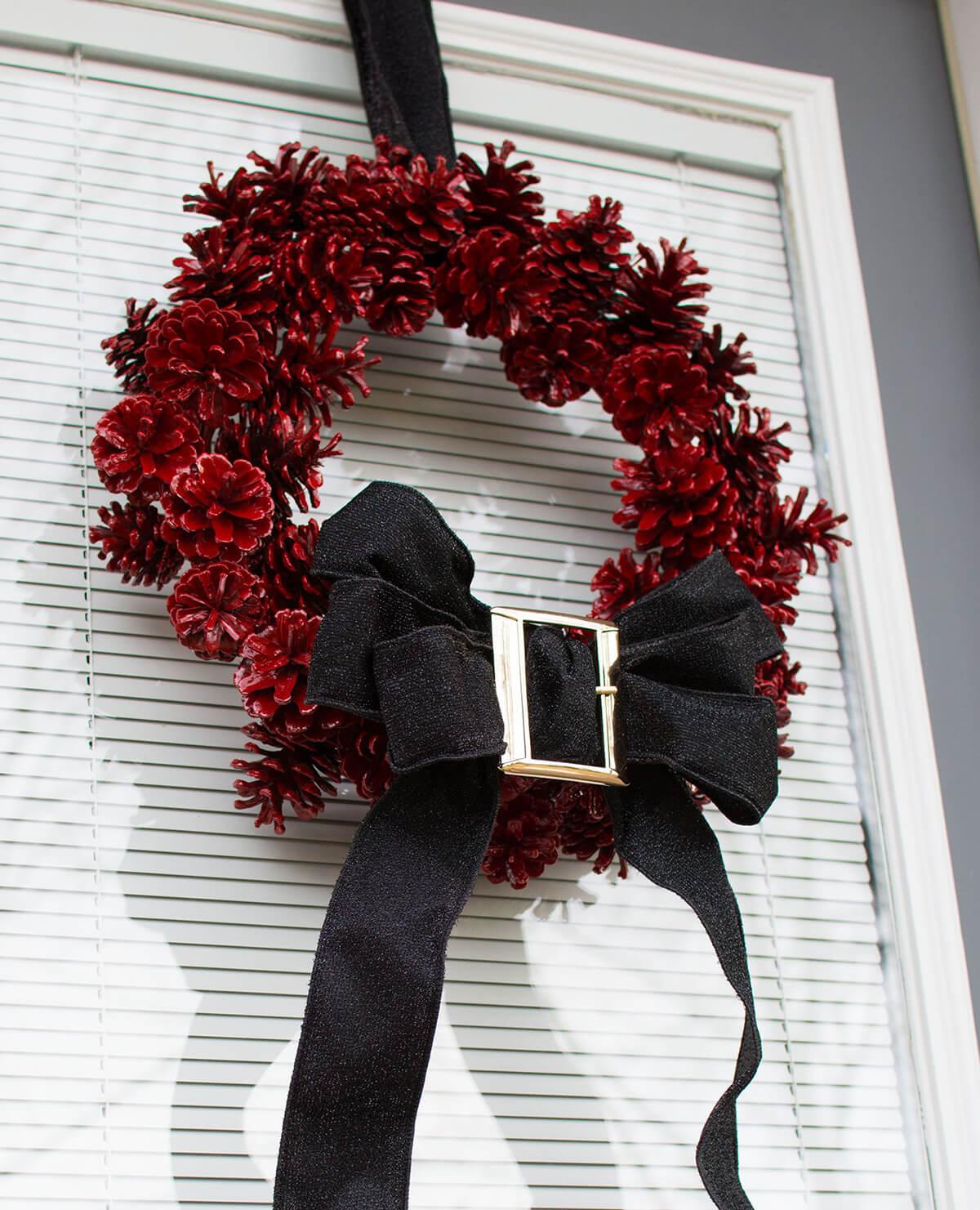 Santa's Belt Pine Cone Wreath