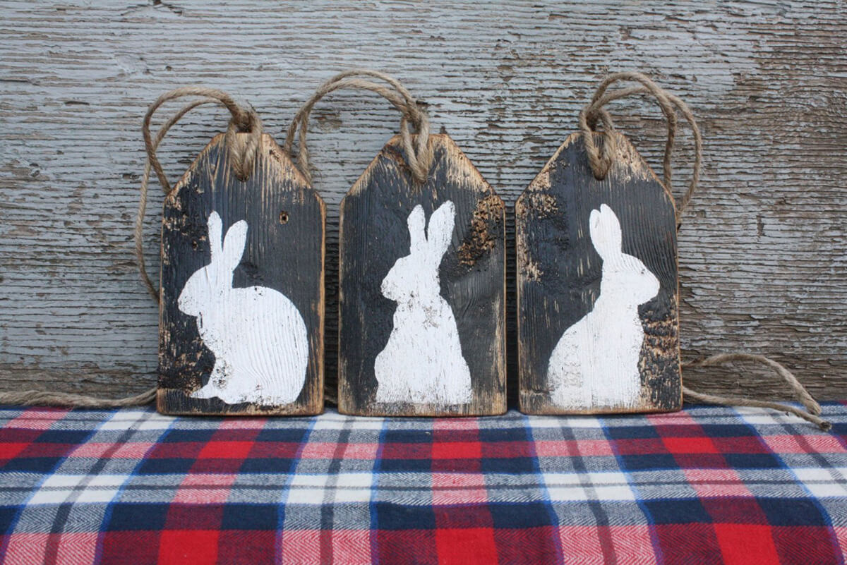 Jute Twine Pre-Strung Distressed Bunny Tags