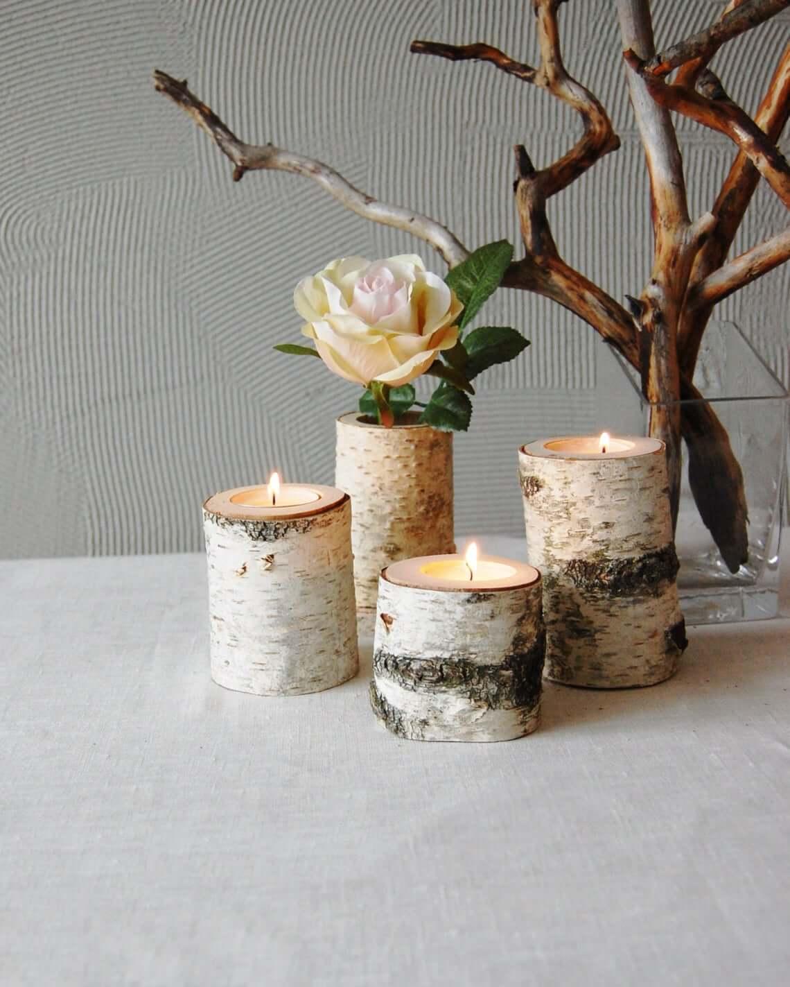 Rustic Birch Branch Candleholder Set