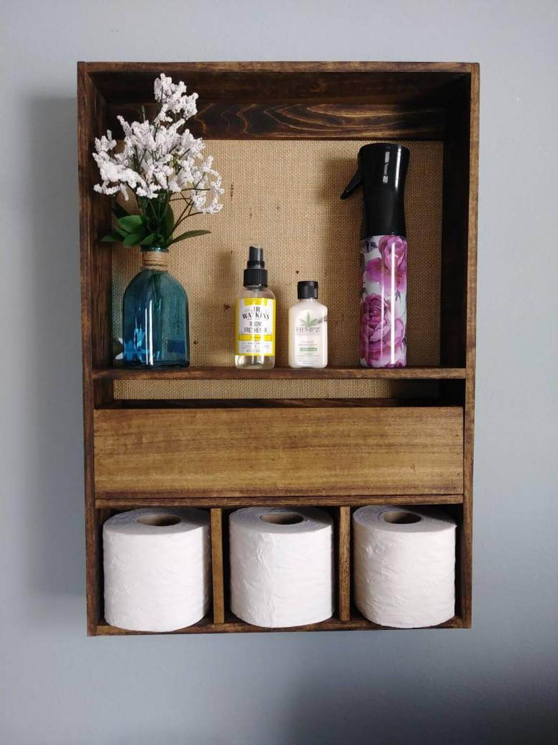 Shelving Unit With Toilet Paper Cubbies