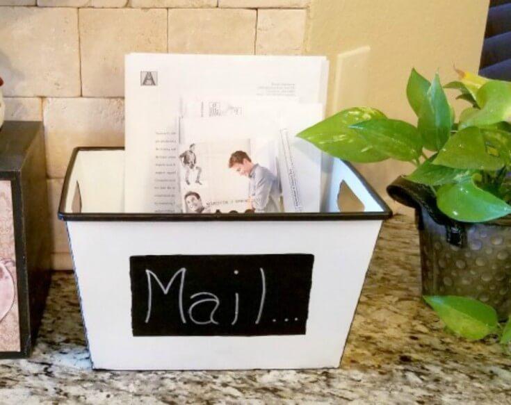 Bin and Chalkboard Paint Mailbox