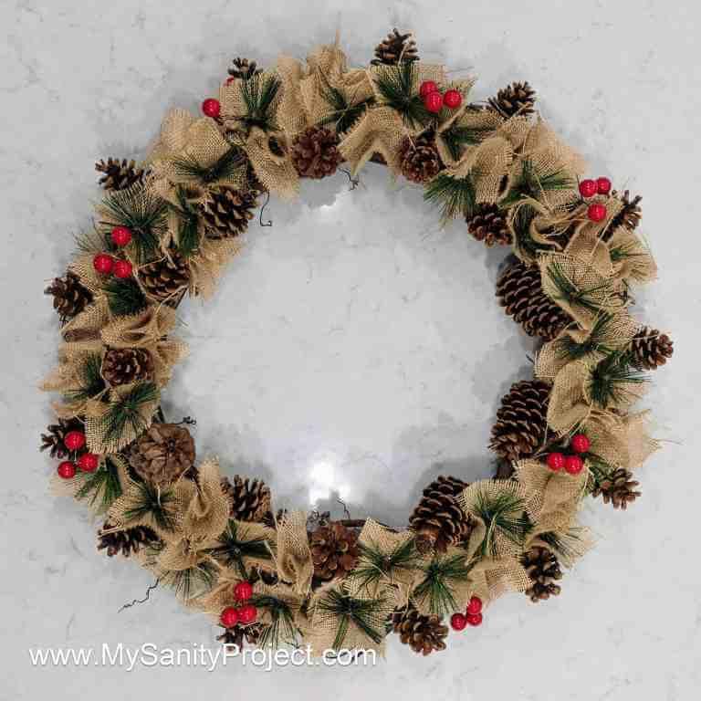 Rustic Burlap & Berry Pine Cone Christmas Wreath