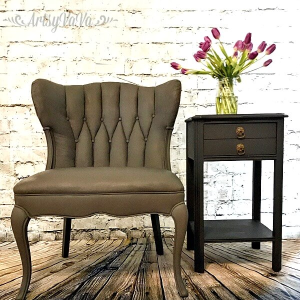 Stunning Dark Painted Upholstered Chair