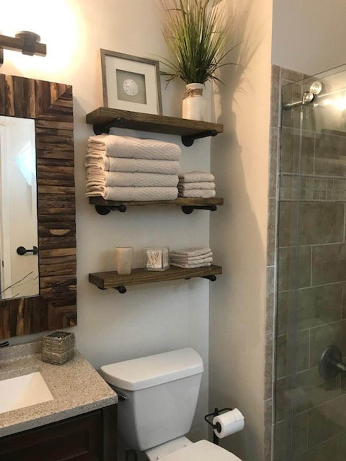Pipe and Wood Shelves for Bathroom Storage