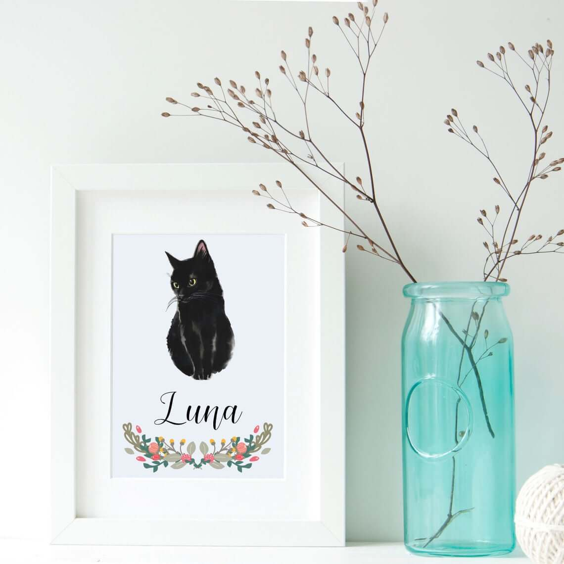 Floral Watercolor Cat Wall Art