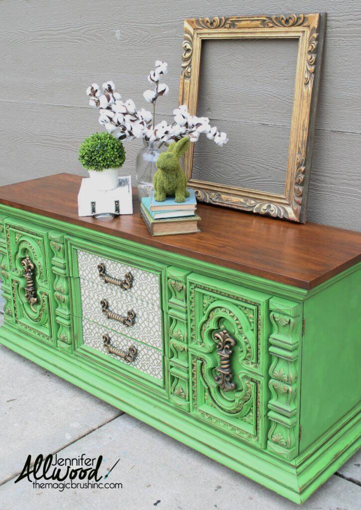 Ornate Bold Green Dresser Makeover