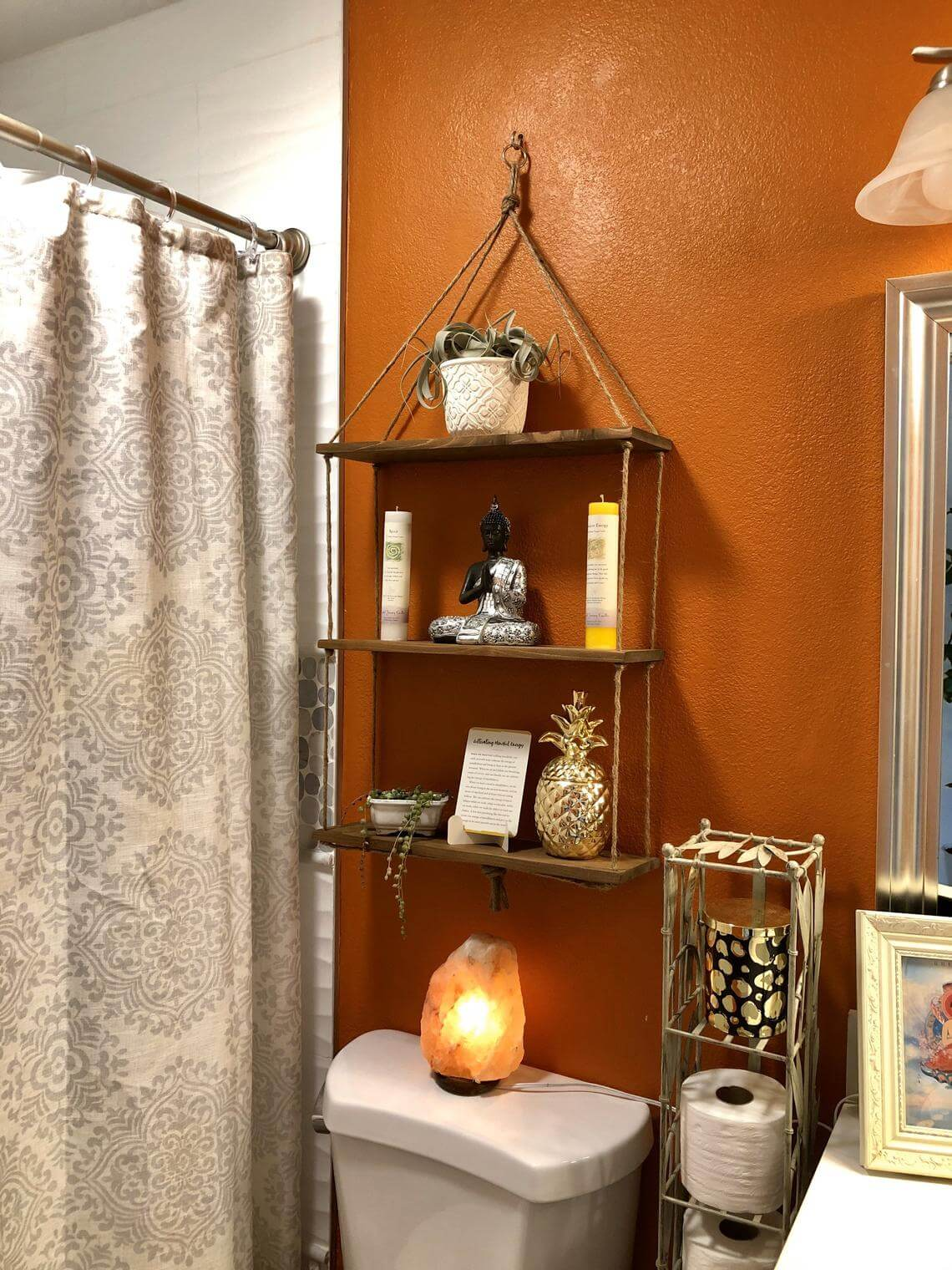 Boho Style Wood and Twine Shelving Unit