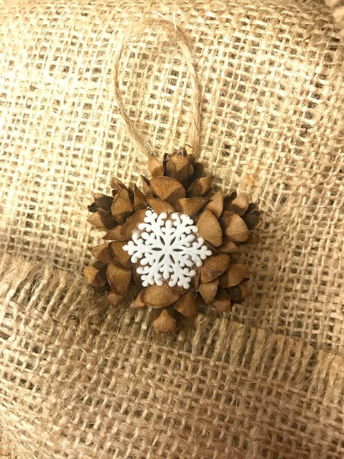Perfect Pinecone Snowflake Ornaments