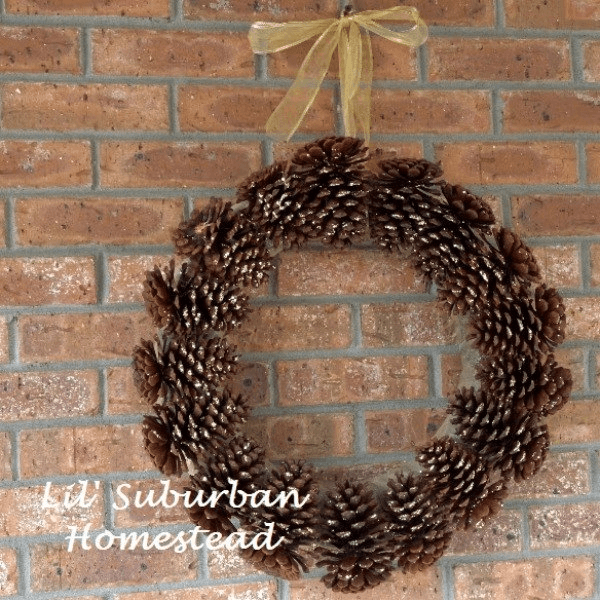 Minimalist Glitter Pine Cone Wreath