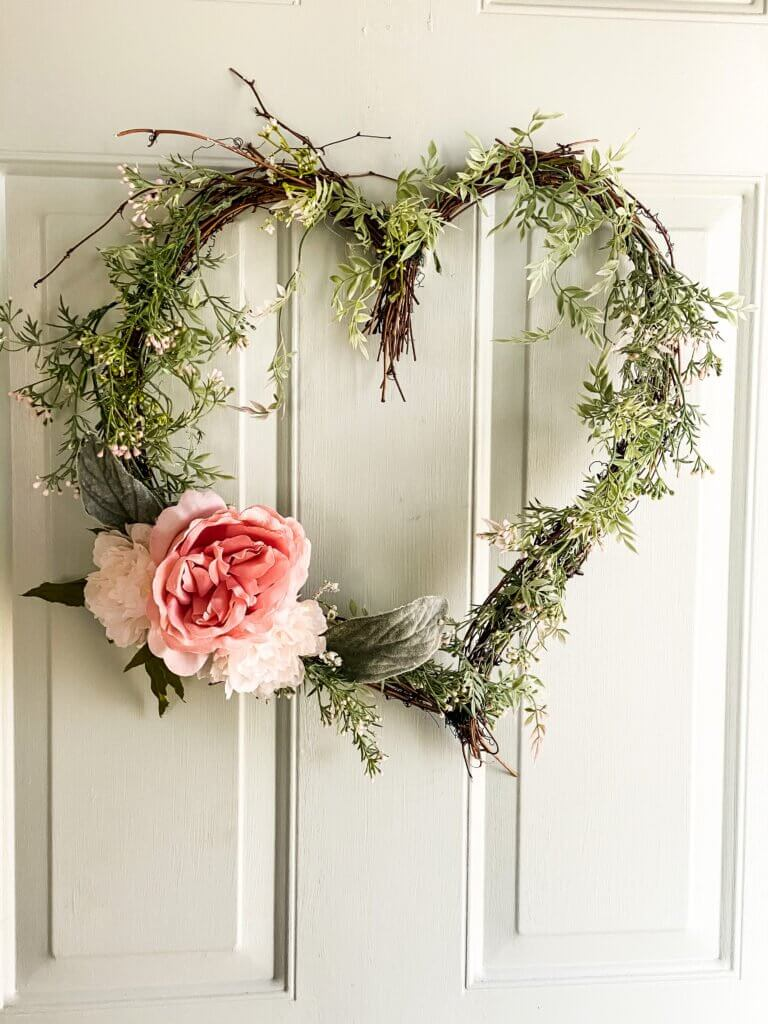 DIY Grapevine Wreath in Shape of Heart