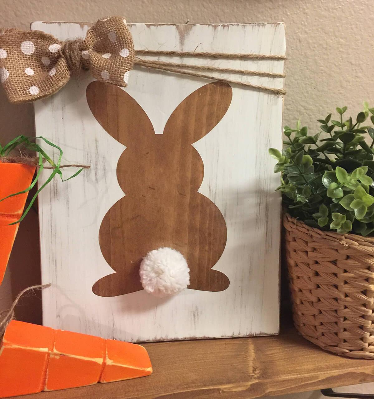 Polka-Dot Bow Wooden Bunny Sign
