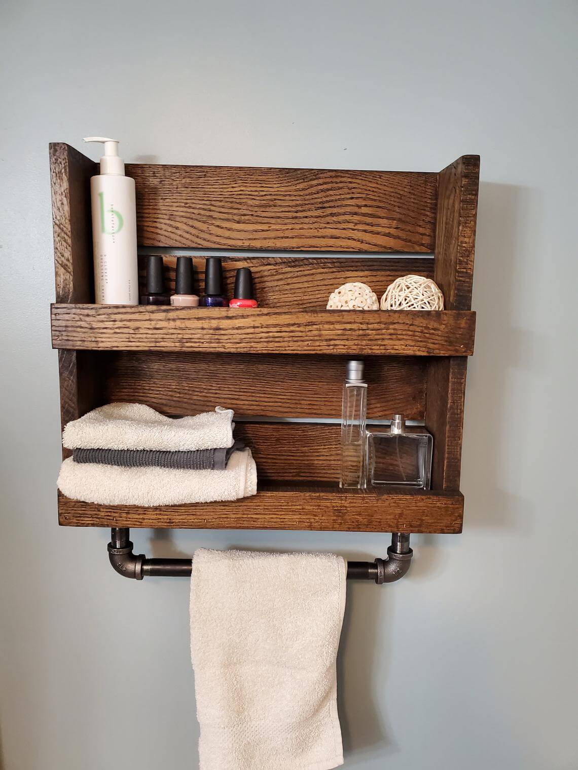 Rustic Crate Storage Shelf with Towel Rack