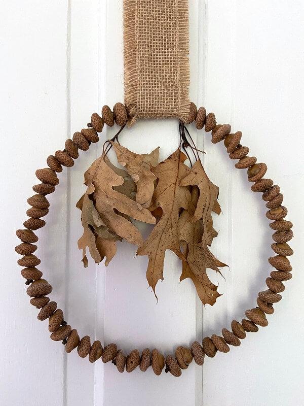 Mighty Oak and Burlap Acorn Wreath