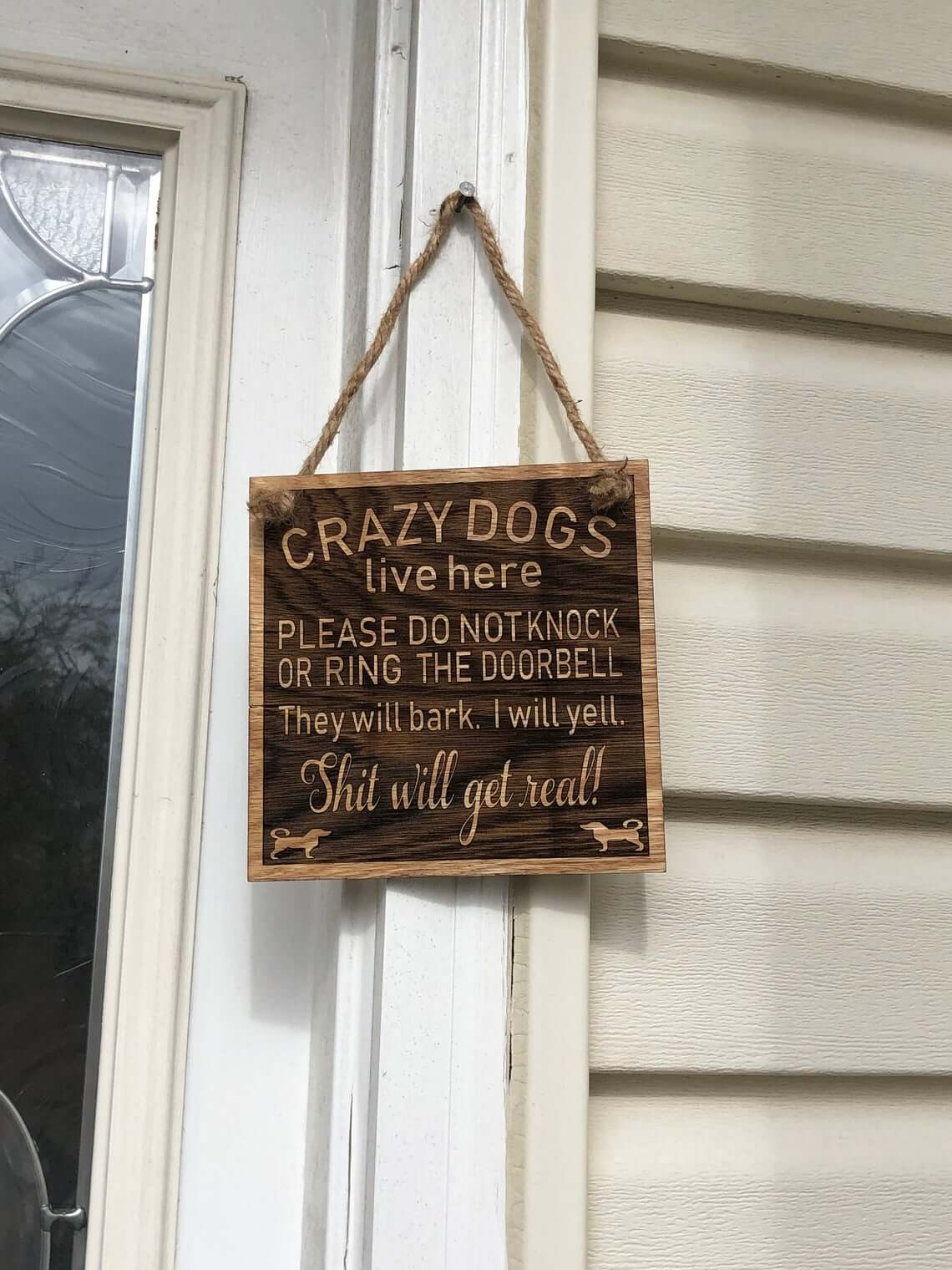 Outdoor Crazy Dogs Live Here Wooden Sign