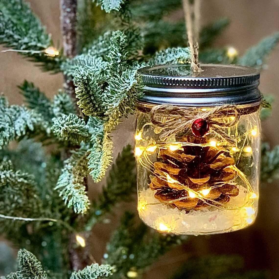 Miniature Mason Jar pinecone Ornaments with Lights