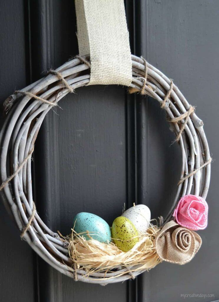 Speckled Spring Eggs on White Grapevine Wreath