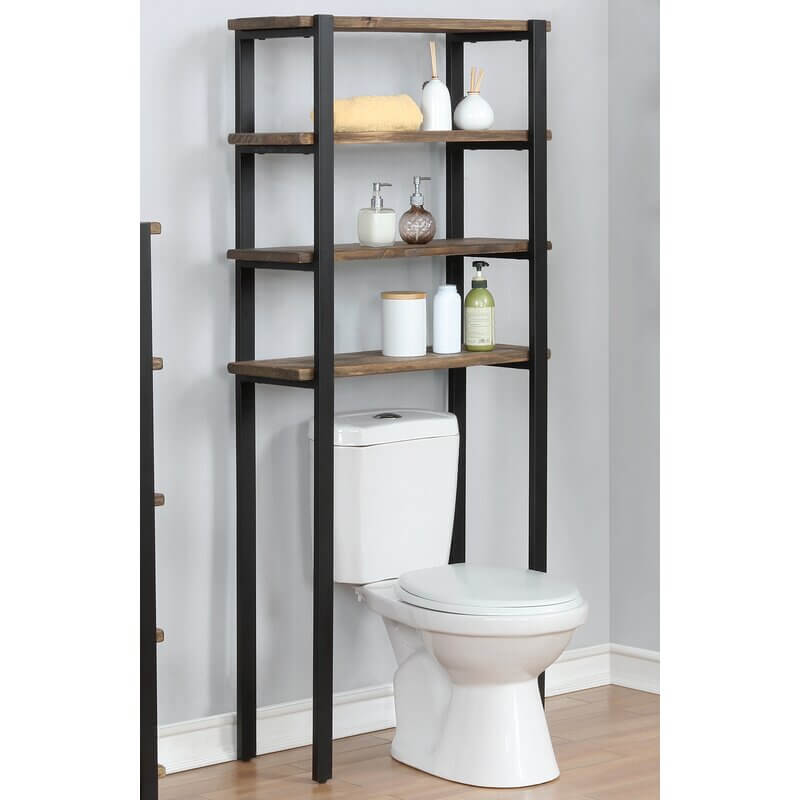 Four Tiered Over the Toilet Shelf System