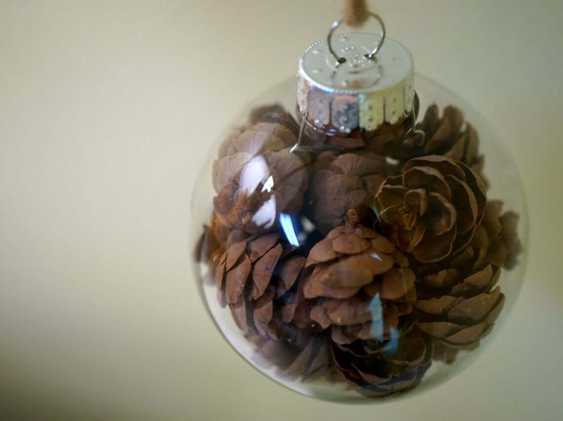 Spiffy Pinecone-Stuffed Globe Ornaments