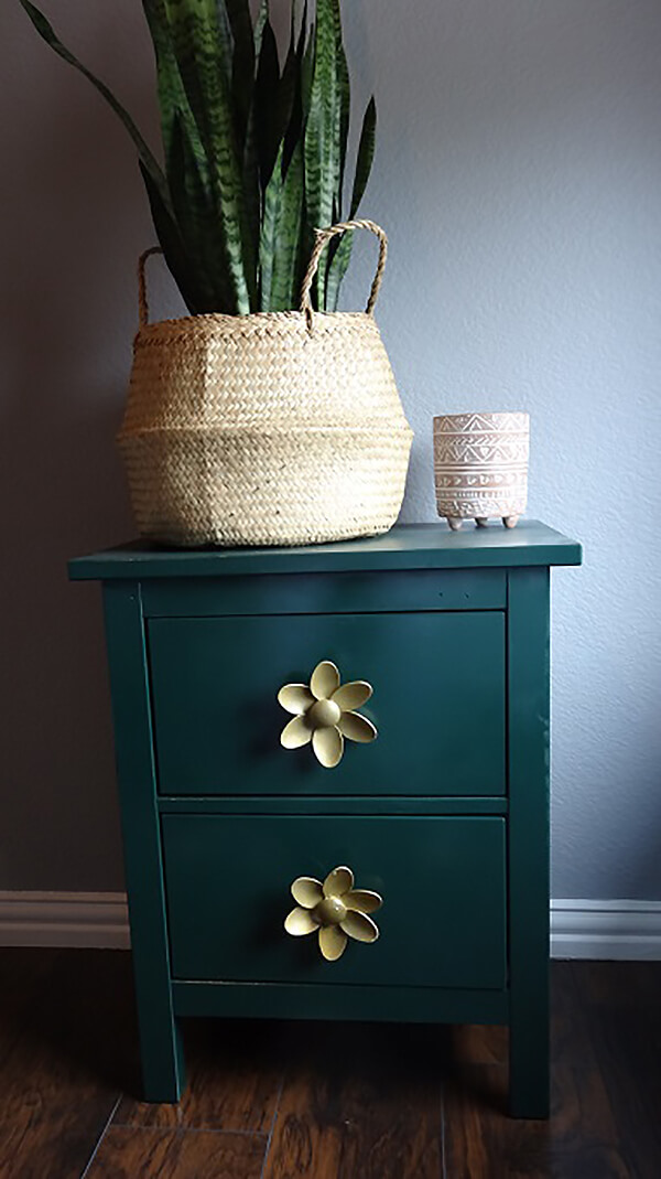 Elevated Nightstand with Flower Knobs
