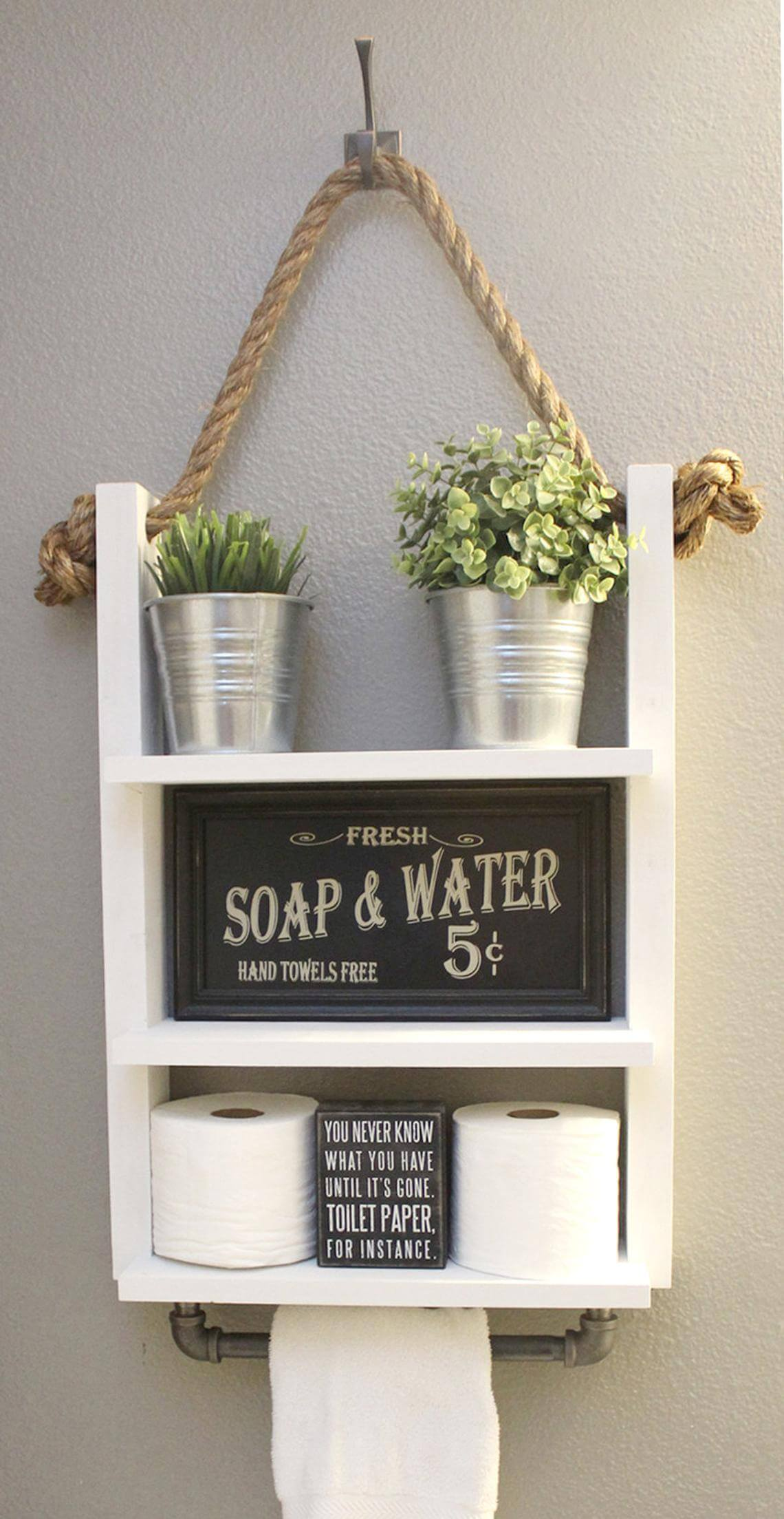 Hanging Three Tiered Shelf with Towel Rack