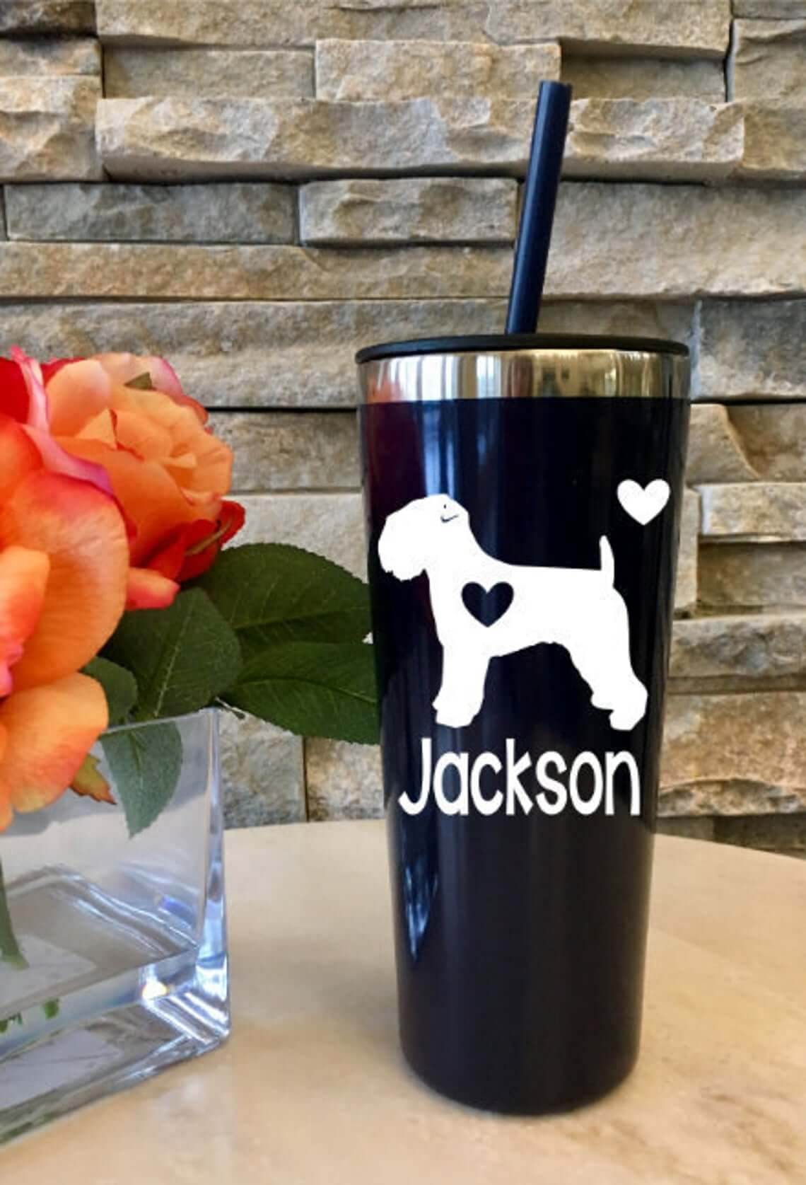 Customizable Terrier Silhouette & Pet Name Tumbler