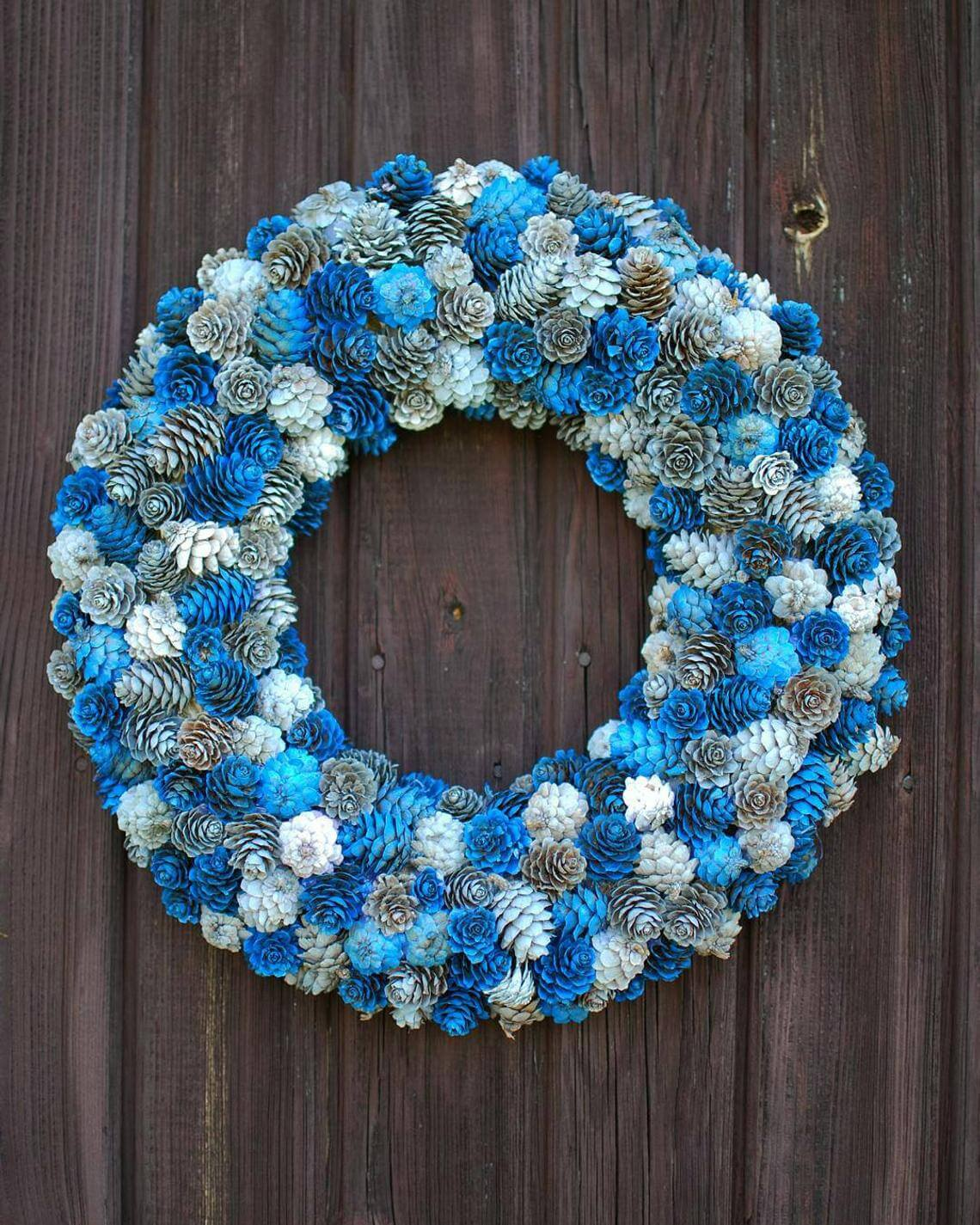 Bodaciously Blue Painted Pine Cone Wreath