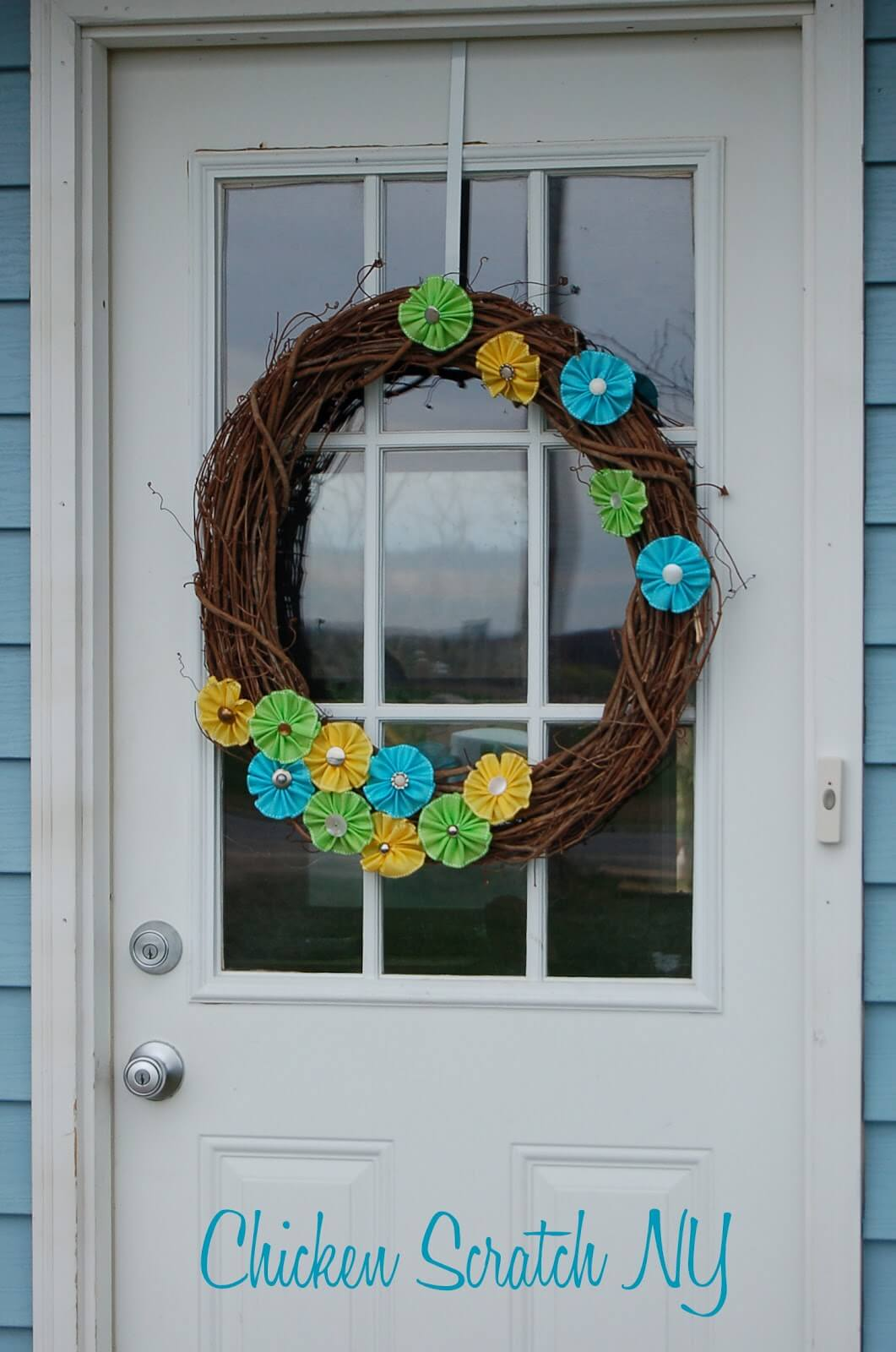 Spring Ribbon Flower with Antique Buttons Wreath