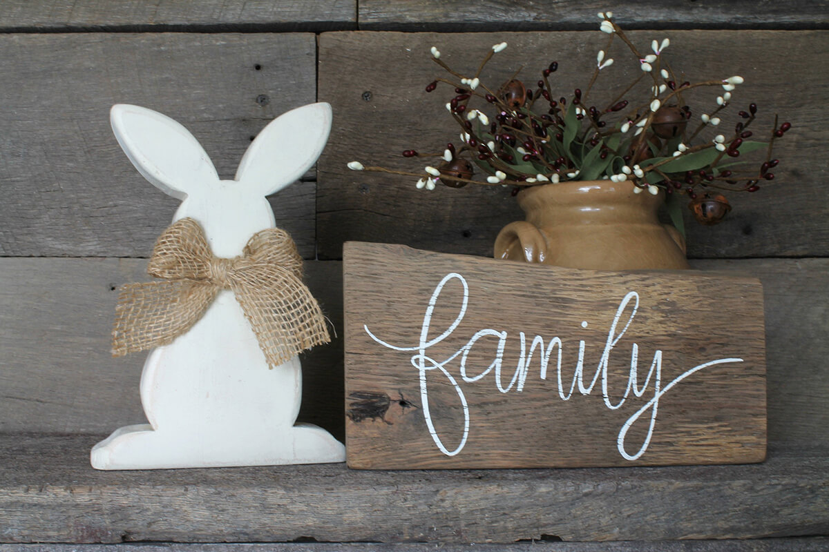 Sweet Primitive Bunny Cutout with Bow