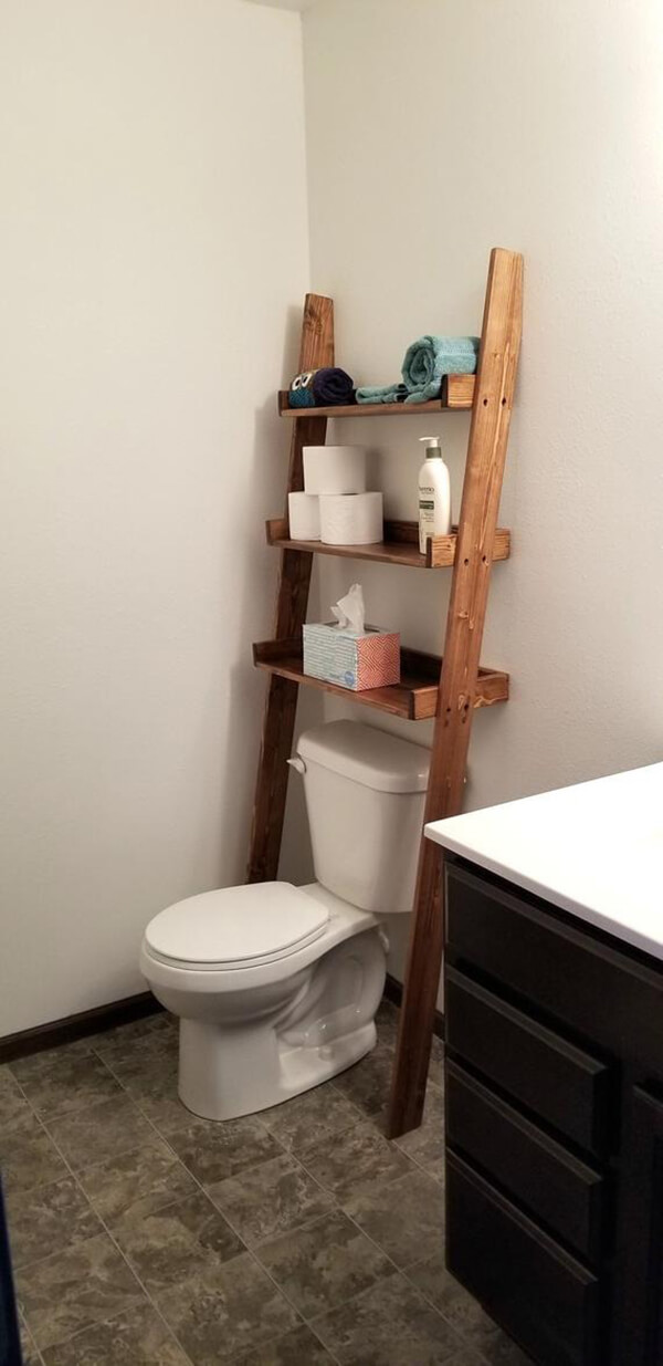 Ladder With Shelves for Over the Toilet