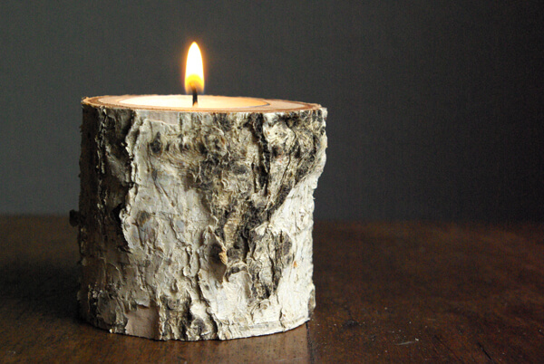 Rustic Raw Edge Wood Chuck Candle