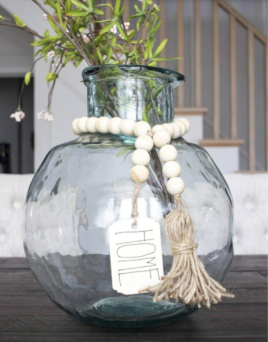 Wooden Bead Garland with Tassel Tag