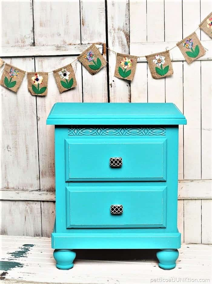Brightly Painted Nightstand and Decorative Knobs