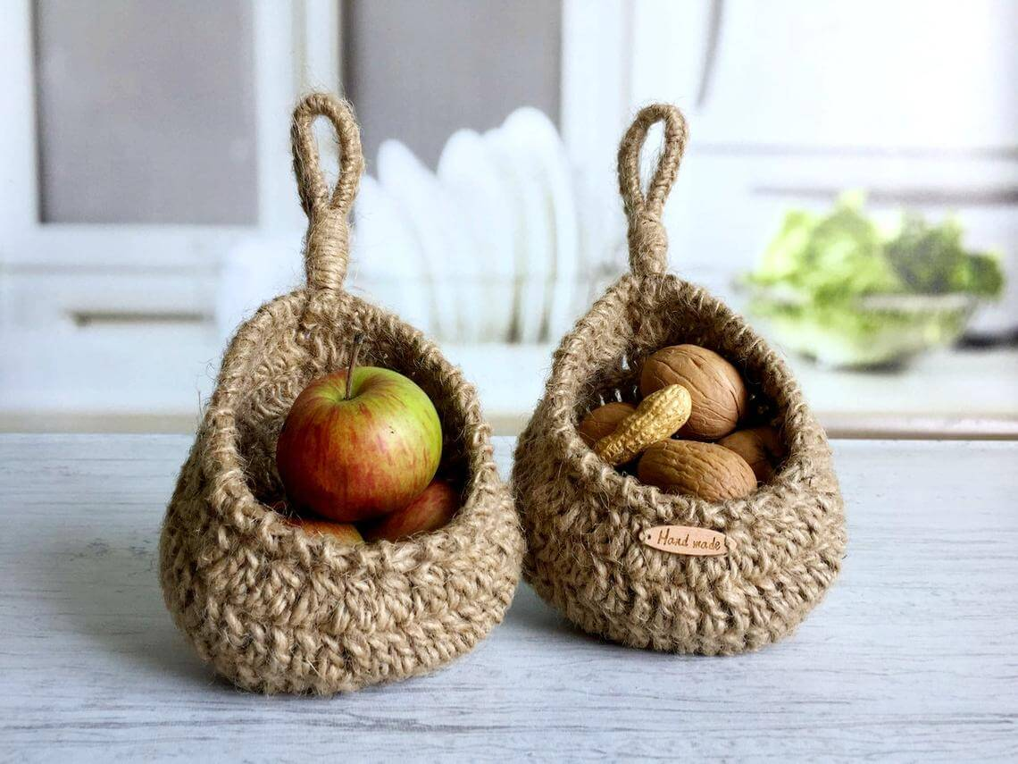 Miniature Jute Hanging Basket Set