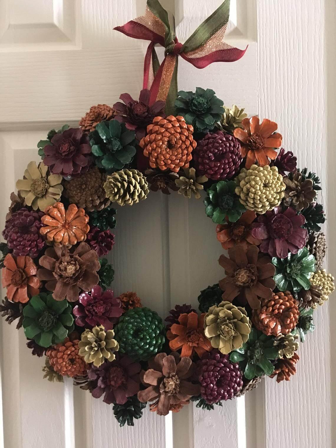 Classic Cornucopia-Colored Pine Cone Wreath